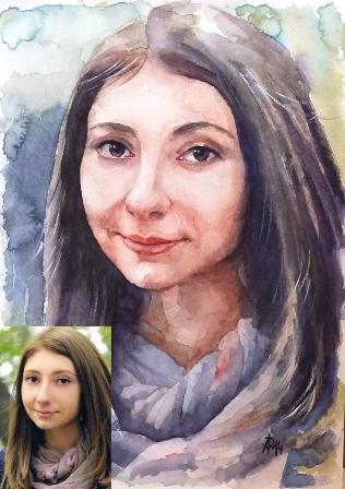 портрет акварель по фотографии