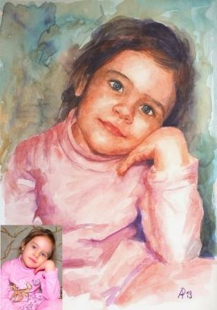 портрет акварелью ребонка