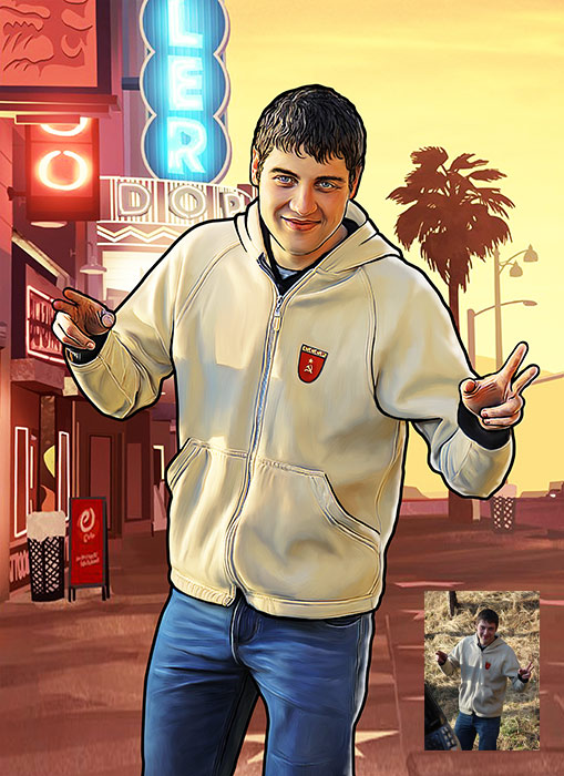 Поп-арт портрет в стиле GTA
