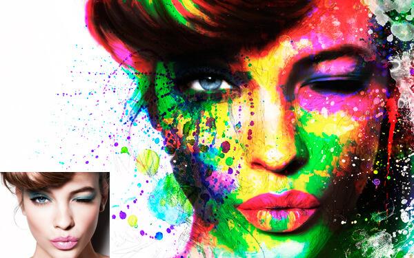 Сплэш портрет (Splash) в стиле поп-арт