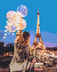"""Картина для росписи по номерам """"С шариками в Париже"""" 40 х 50 см ATG0006"""