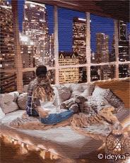 """Картина для росписи по номерам """"Наблюдая за городом"""" 40 х 50 см KHO4774"""