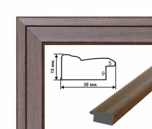 Багетная рамка (рельефное темное дерево 3 см) 40х50